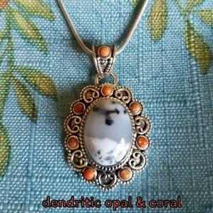 Dendritic Opal & Coral Necklace Sterling Silver